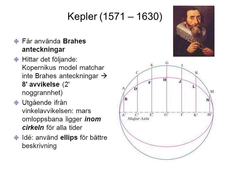 Kepler (1571 – 1630) Får använda Brahes anteckningar Hittar det följande: Kopernikus model matchar inte Brahes anteckningar  8' avvikelse (2' noggran