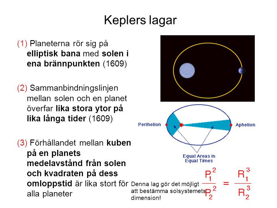 Keplers lagar  Planeterna rör sig på elliptisk bana med solen i ena brännpunkten (1609)  Sammanbindningslinjen mellan solen och en planet överfa
