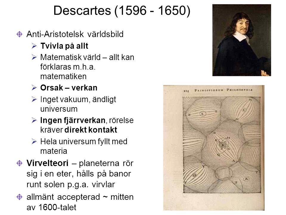 Descartes (1596 - 1650) Anti-Aristotelsk världsbild  Tvivla på allt  Matematisk värld – allt kan förklaras m.h.a. matematiken  Orsak – verkan  Ing