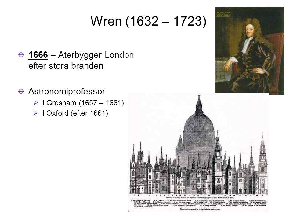 Wren (1632 – 1723) 1666 – Aterbygger London efter stora branden Astronomiprofessor  I Gresham (1657 – 1661)  I Oxford (efter 1661)