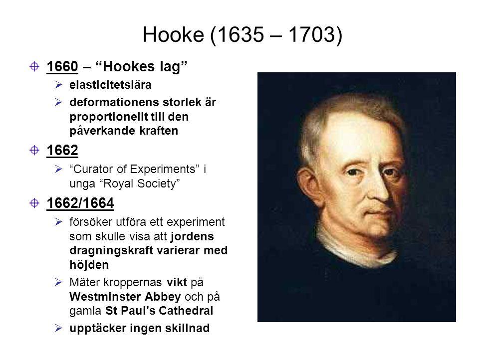 """Hooke (1635 – 1703) 1660 – """"Hookes lag""""  elasticitetslära  deformationens storlek är proportionellt till den påverkande kraften 1662  """"Curator of E"""