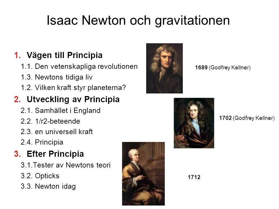 Isaac Newton och gravitationen  Vägen till Principia 1.1. Den vetenskapliga revolutionen 1.3. Newtons tidiga liv 1.2. Vilken kraft styr planeterna?