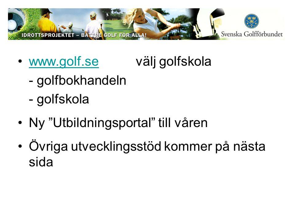 www.golf.sevälj golfskolawww.golf.se - golfbokhandeln - golfskola Ny Utbildningsportal till våren Övriga utvecklingsstöd kommer på nästa sida