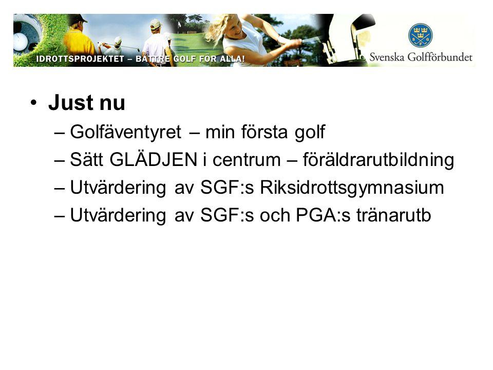 Just nu –Golfäventyret – min första golf –Sätt GLÄDJEN i centrum – föräldrarutbildning –Utvärdering av SGF:s Riksidrottsgymnasium –Utvärdering av SGF:s och PGA:s tränarutb