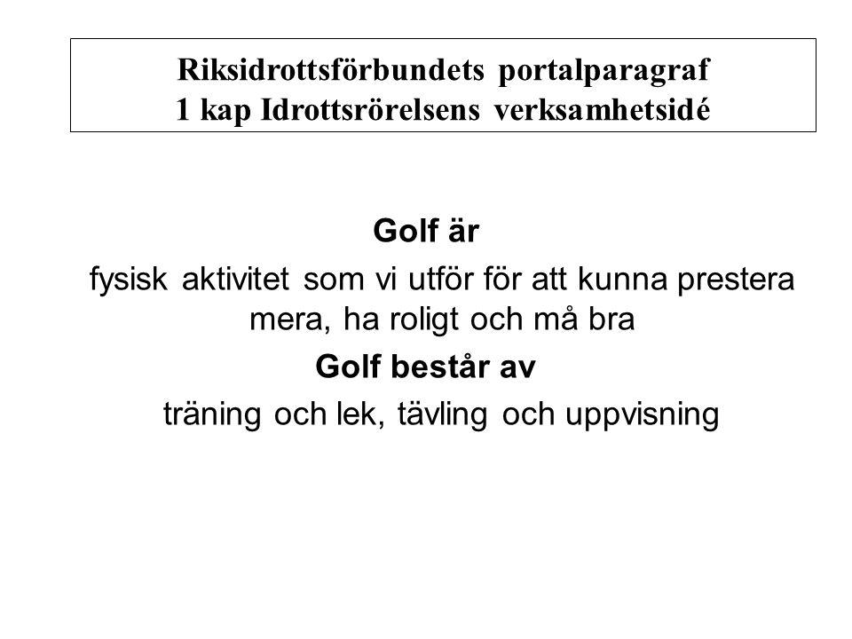 Golf är fysisk aktivitet som vi utför för att kunna prestera mera, ha roligt och må bra Golf består av träning och lek, tävling och uppvisning Riksidrottsförbundets portalparagraf 1 kapIdrottsrörelsens verksamhetsidé