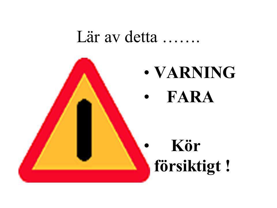 Lär av detta ……. VARNING FARA Kör försiktigt !