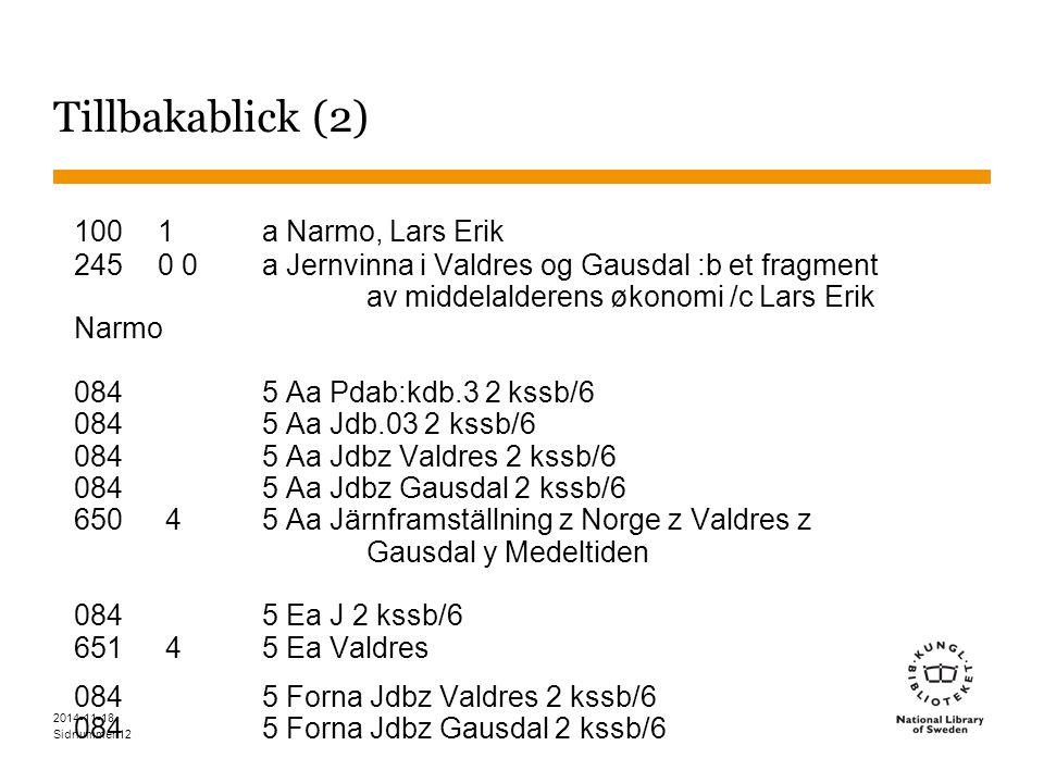 Sidnummer 2014-11-18 12 Tillbakablick (2) 1001 a Narmo, Lars Erik 2450 0a Jernvinna i Valdres og Gausdal :b et fragment av middelalderens økonomi /c Lars Erik Narmo 084 5 Aa Pdab:kdb.3 2 kssb/6 084 5 Aa Jdb.03 2 kssb/6 084 5 Aa Jdbz Valdres 2 kssb/6 084 5 Aa Jdbz Gausdal 2 kssb/6 650 45 Aa Järnframställning z Norge z Valdres z Gausdal y Medeltiden 084 5 Ea J 2 kssb/6 651 45 Ea Valdres 084 5 Forna Jdbz Valdres 2 kssb/6 084 5 Forna Jdbz Gausdal 2 kssb/6