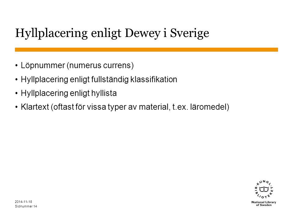 Sidnummer 2014-11-18 14 Hyllplacering enligt Dewey i Sverige Löpnummer (numerus currens) Hyllplacering enligt fullständig klassifikation Hyllplacering enligt hyllista Klartext (oftast för vissa typer av material, t.ex.