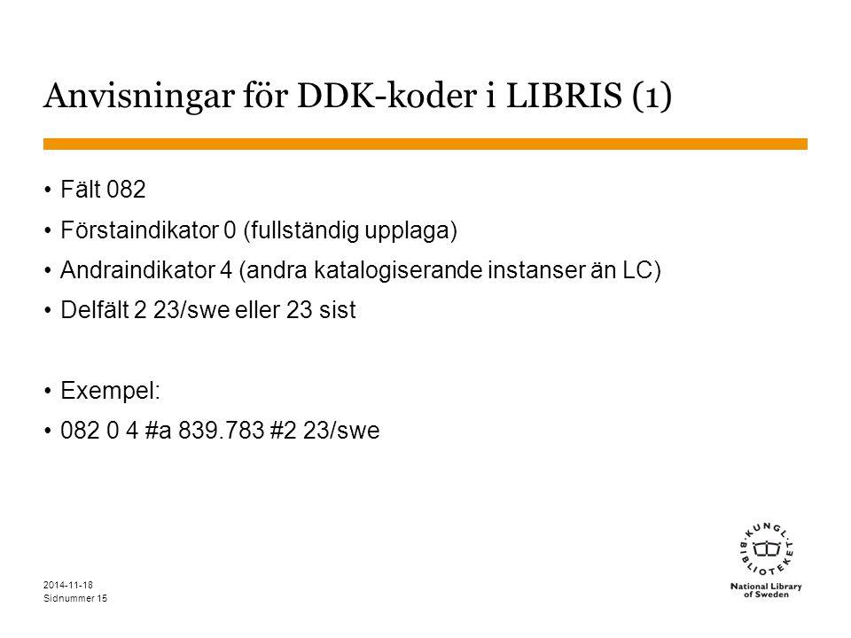 Sidnummer 2014-11-18 15 Anvisningar för DDK-koder i LIBRIS (1) Fält 082 Förstaindikator 0 (fullständig upplaga) Andraindikator 4 (andra katalogiserande instanser än LC) Delfält 2 23/swe eller 23 sist Exempel: 082 0 4 #a 839.783 #2 23/swe