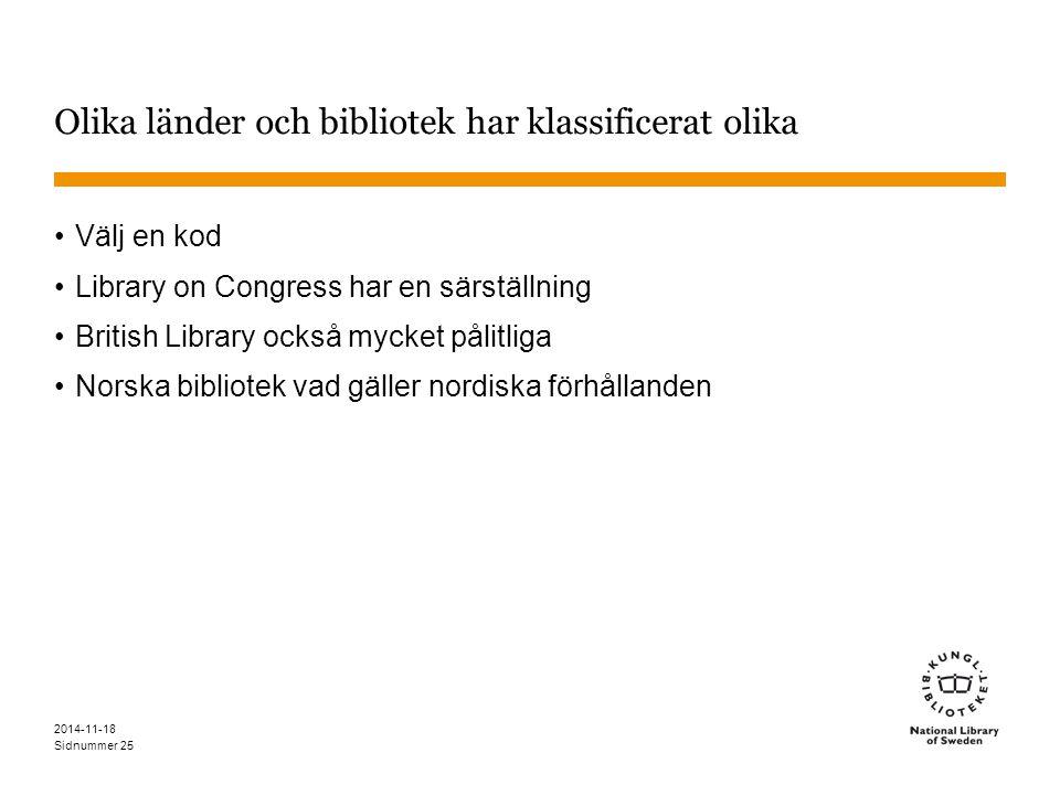 Sidnummer 2014-11-18 25 Olika länder och bibliotek har klassificerat olika Välj en kod Library on Congress har en särställning British Library också mycket pålitliga Norska bibliotek vad gäller nordiska förhållanden