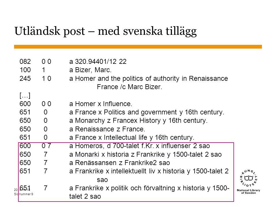 Sidnummer 2014-11-18 9 Utländsk post – med svenska tillägg 0820 0a 320.94401/12 22 1001 a Bizer, Marc.