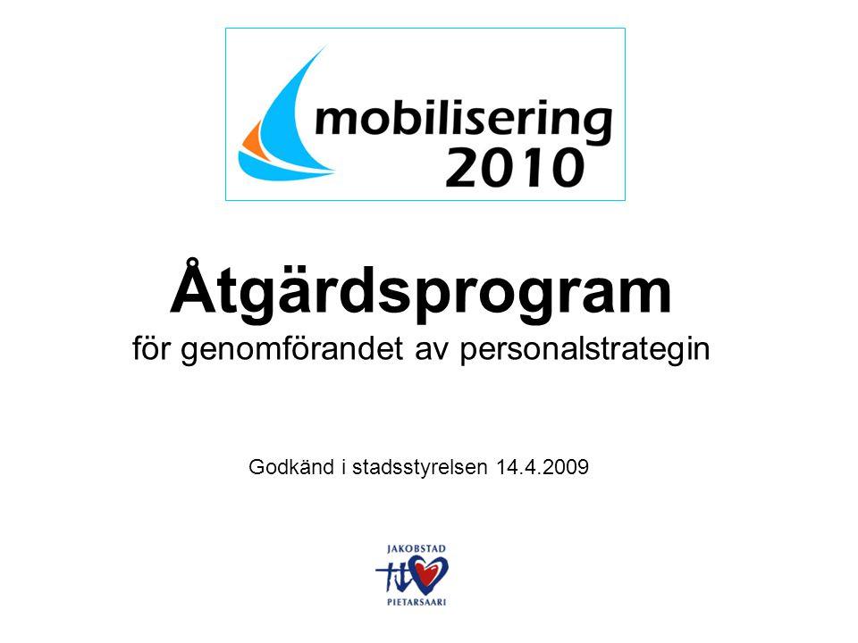 Åtgärdsprogram för genomförandet av personalstrategin Godkänd i stadsstyrelsen 14.4.2009