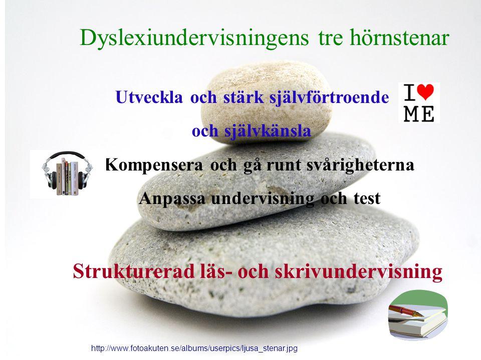 Dyslexiundervisningens tre hörnstenar http://www.fotoakuten.se/albums/userpics/ljusa_stenar.jpg Utveckla och stärk självförtroende och självkänsla Kompensera och gå runt svårigheterna Anpassa undervisning och test Strukturerad läs- och skrivundervisning