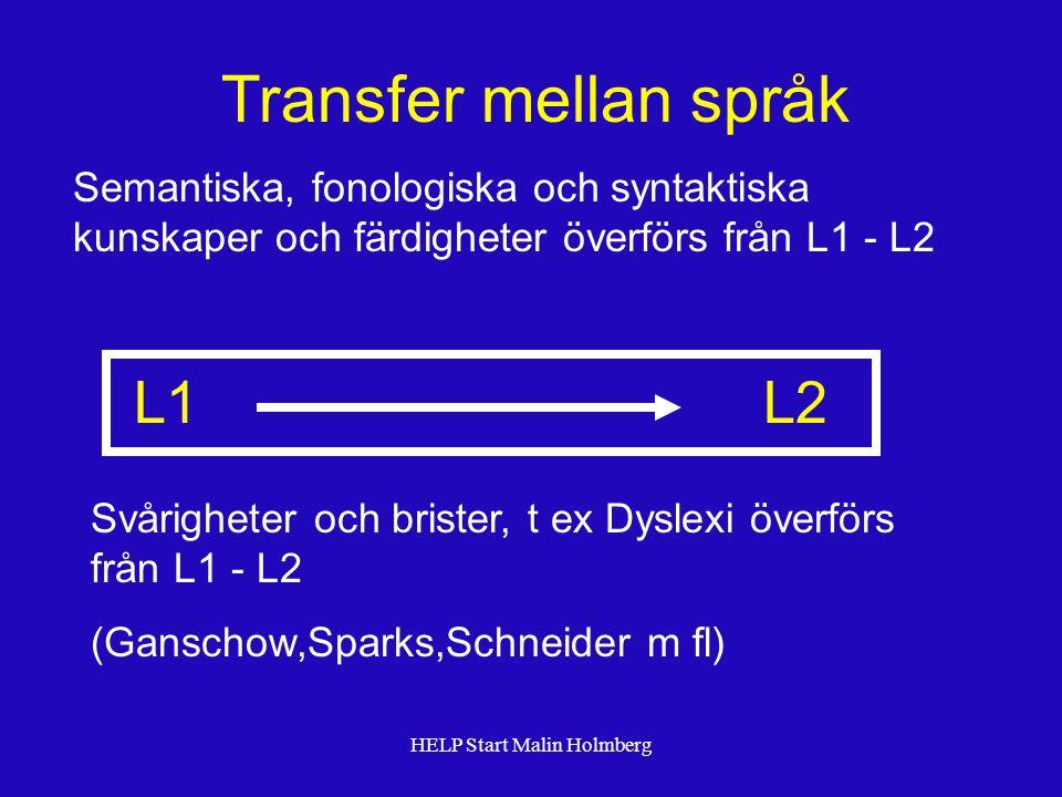 Transfer mellan språk Semantiska, fonologiska och syntaktiska kunskaper och färdigheter överförs från L1 - L2 Svårigheter och brister, t ex Dyslexi överförs från L1 - L2 (Ganschow,Sparks,Schneider m fl) L1 L2 HELP Start Malin Holmberg
