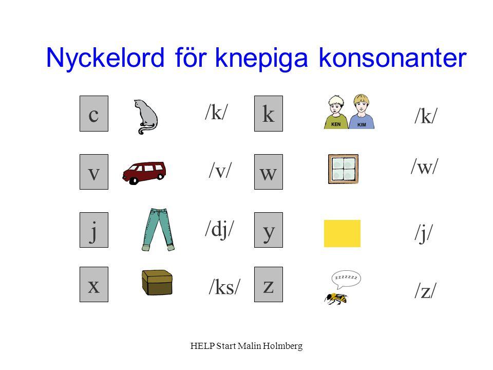 Nyckelord för knepiga konsonanter c z wv yj k x /k/ /v/ /k/ /w/ /dj/ /ks/ /j/ /z/ HELP Start Malin Holmberg