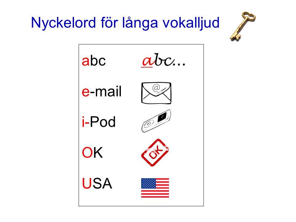 abc abc... e-mail i-Pod OK USA Nyckelord för långa vokalljud