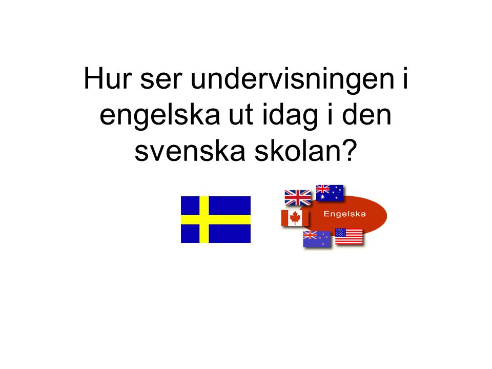 Hur ser undervisningen i engelska ut idag i den svenska skolan? HELP Start Malin Holmberg