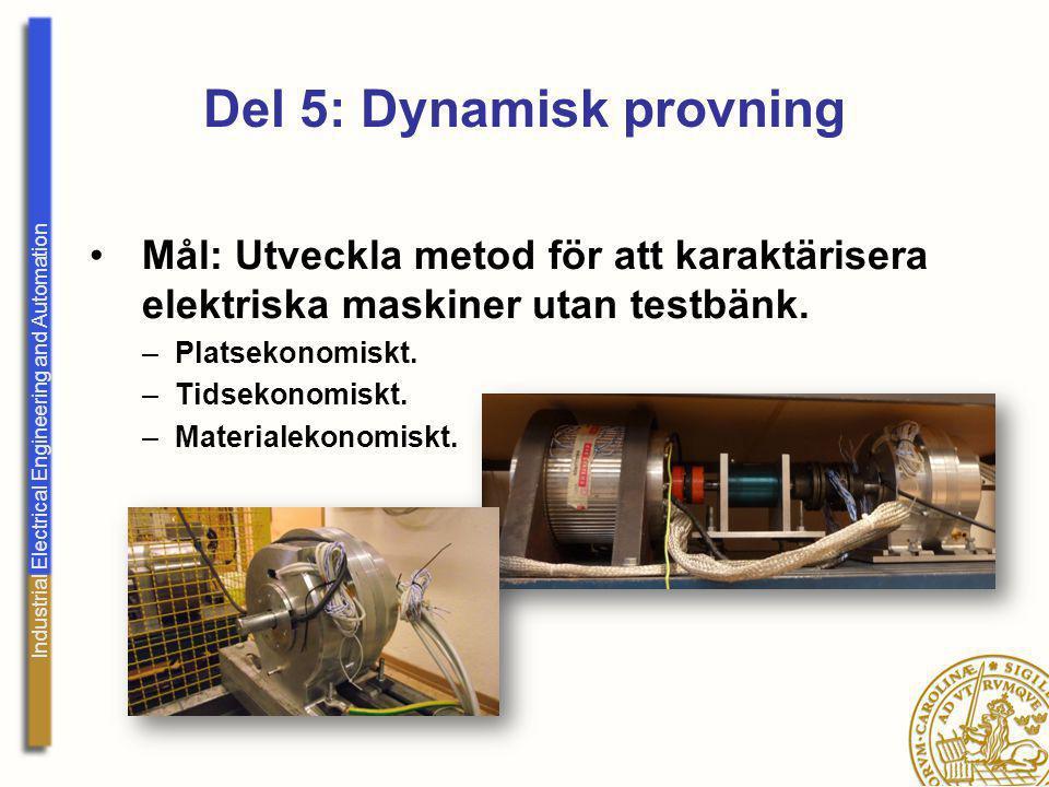 Industrial Electrical Engineering and Automation Del 5: Dynamisk provning Mål: Utveckla metod för att karaktärisera elektriska maskiner utan testbänk.