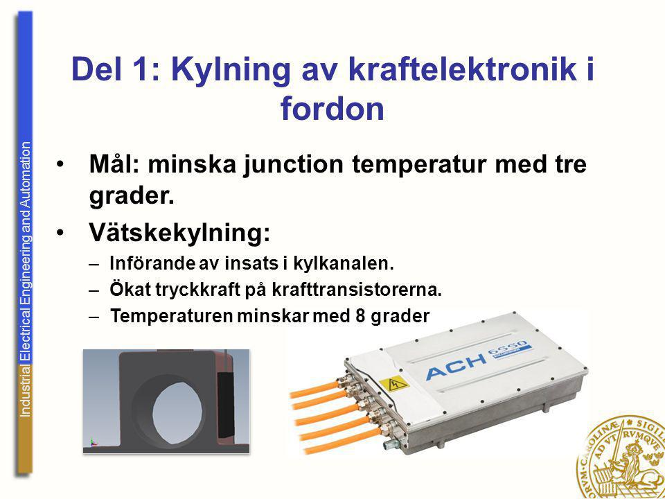 Industrial Electrical Engineering and Automation Del 1: Kylning av kraftelektronik i fordon Mål: minska junction temperatur med tre grader. Vätskekyln