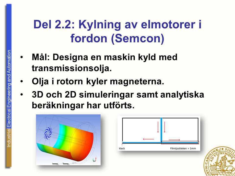 Industrial Electrical Engineering and Automation Del 2.2: Kylning av elmotorer i fordon (Semcon) Mål: Designa en maskin kyld med transmissionsolja. Ol