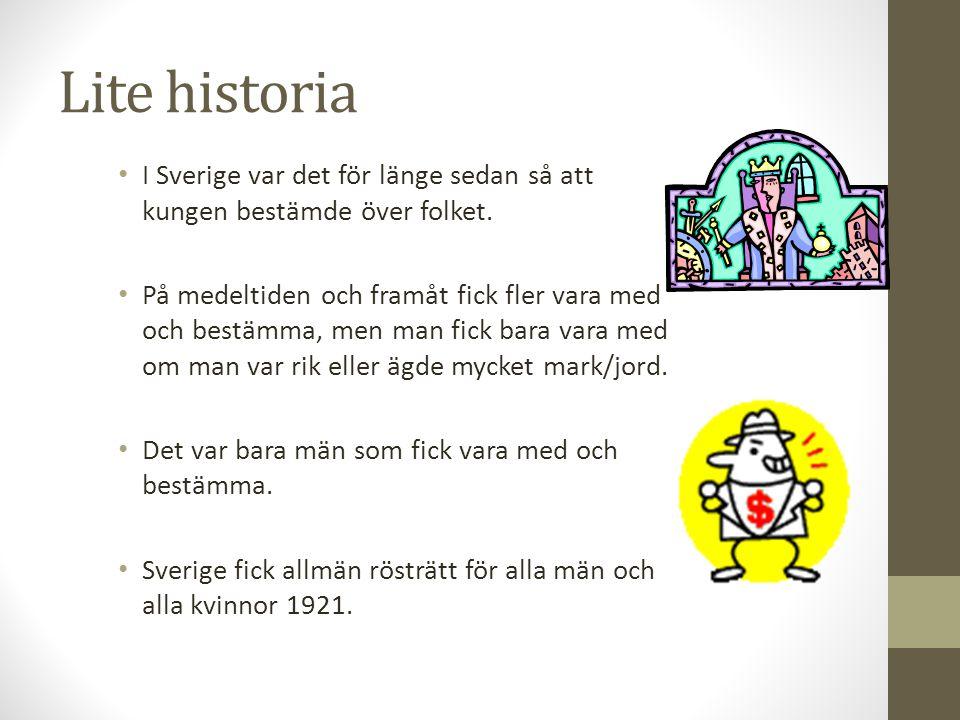 Lite historia I Sverige var det för länge sedan så att kungen bestämde över folket. På medeltiden och framåt fick fler vara med och bestämma, men man