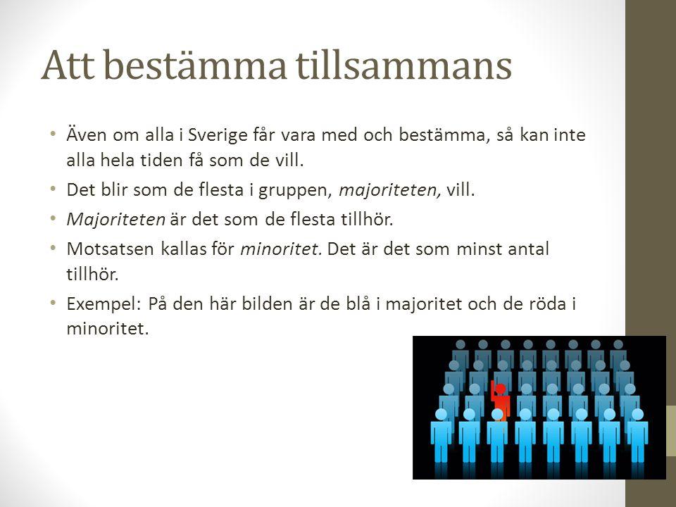 Att bestämma tillsammans Även om alla i Sverige får vara med och bestämma, så kan inte alla hela tiden få som de vill. Det blir som de flesta i gruppe