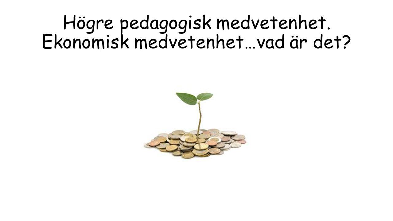 Högre pedagogisk medvetenhet. Ekonomisk medvetenhet…vad är det