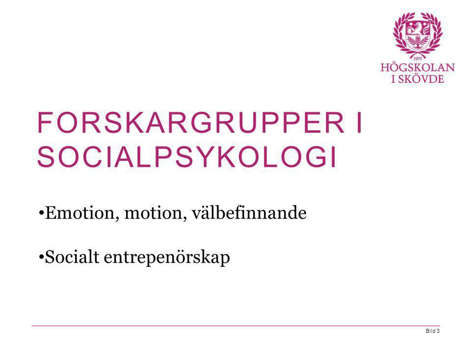 Bild 3 Emotion, motion, välbefinnande Socialt entrepenörskap FORSKARGRUPPER I SOCIALPSYKOLOGI