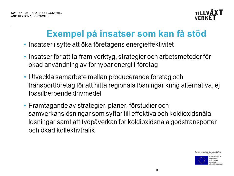 SWEDISH AGENCY FOR ECONOMIC AND REGIONAL GROWTH Exempel på insatser som kan få stöd Insatser i syfte att öka företagens energieffektivitet Insatser för att ta fram verktyg, strategier och arbetsmetoder för ökad användning av förnybar energi i företag Utveckla samarbete mellan producerande företag och transportföretag för att hitta regionala lösningar kring alternativa, ej fossilberoende drivmedel Framtagande av strategier, planer, förstudier och samverkanslösningar som syftar till effektiva och koldioxidsnåla lösningar samt attitydpåverkan för koldioxidsnåla godstransporter och ökad kollektivtrafik 12