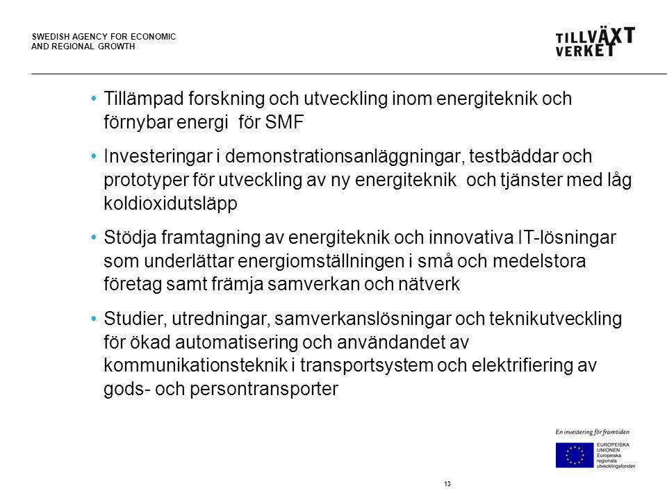 SWEDISH AGENCY FOR ECONOMIC AND REGIONAL GROWTH Tillämpad forskning och utveckling inom energiteknik och förnybar energi för SMF Investeringar i demonstrationsanläggningar, testbäddar och prototyper för utveckling av ny energiteknik och tjänster med låg koldioxidutsläpp Stödja framtagning av energiteknik och innovativa IT-lösningar som underlättar energiomställningen i små och medelstora företag samt främja samverkan och nätverk Studier, utredningar, samverkanslösningar och teknikutveckling för ökad automatisering och användandet av kommunikationsteknik i transportsystem och elektrifiering av gods- och persontransporter 13