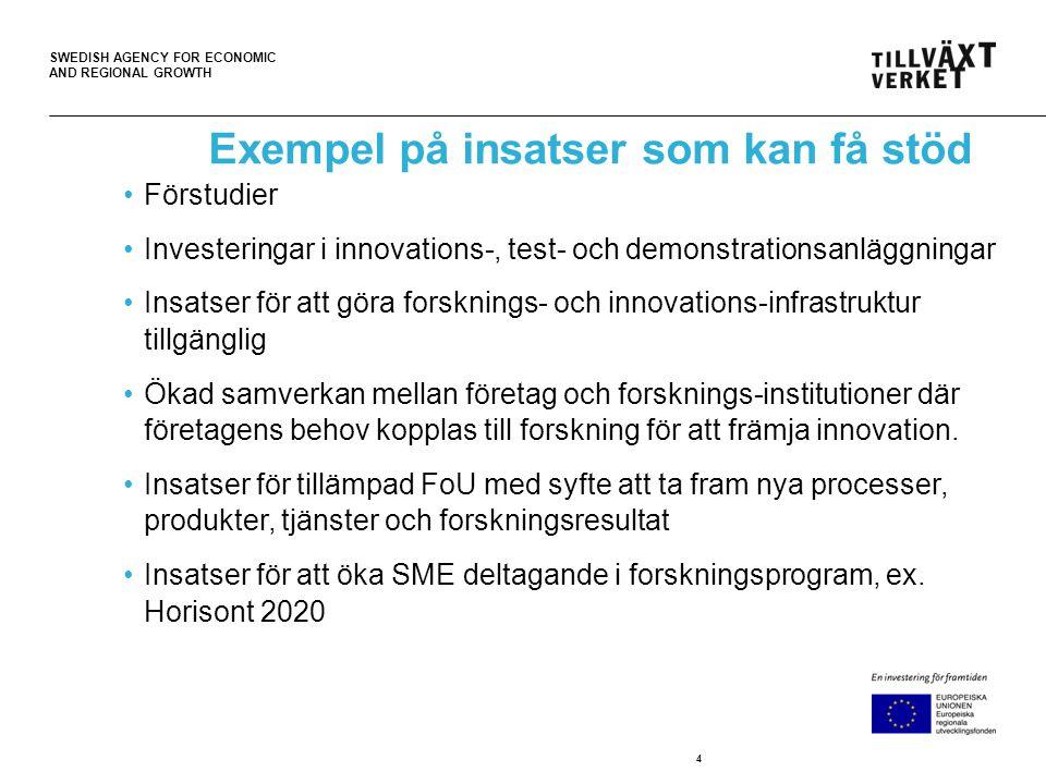 SWEDISH AGENCY FOR ECONOMIC AND REGIONAL GROWTH Insatser för att stärka de regionala innovations- systemen Utveckling av regionala kluster med internationell potential Erfarenhetsutbyte och samverkan mellan regionens innovationsmiljöer och innovationsmiljöer i andra regioner Utveckling av strategiska partnerskap 5