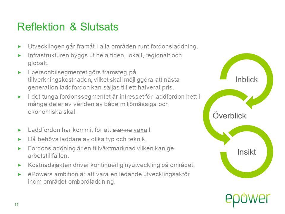 Reflektion & Slutsats  Utvecklingen går framåt i alla områden runt fordonsladdning.