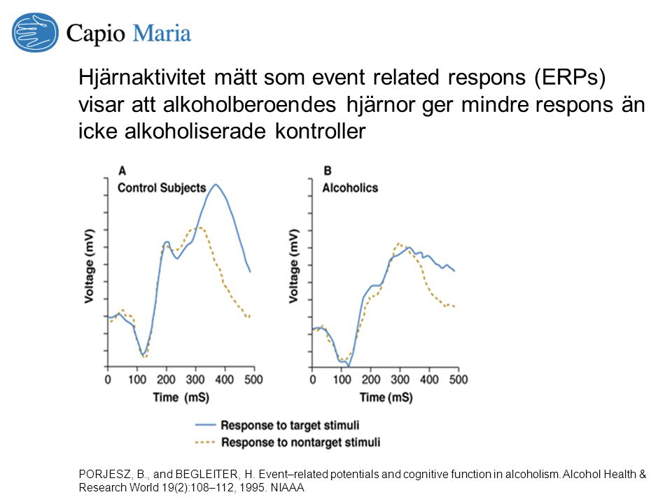 PORJESZ, B., and BEGLEITER, H. Event–related potentials and cognitive function in alcoholism. Alcohol Health & Research World 19(2):108–112, 1995. NIA