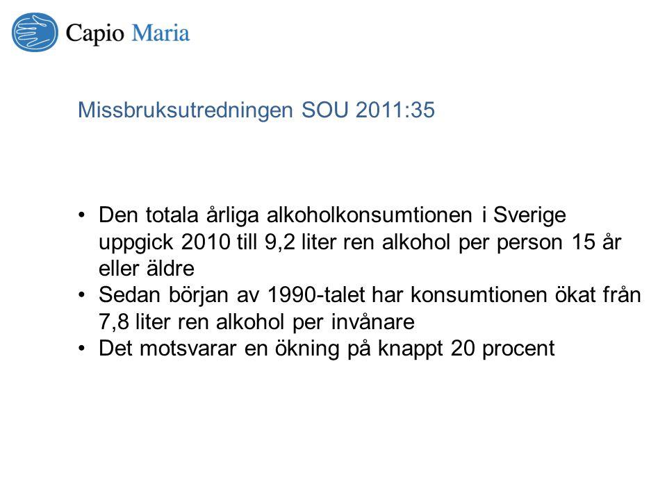 Den totala årliga alkoholkonsumtionen i Sverige uppgick 2010 till 9,2 liter ren alkohol per person 15 år eller äldre Sedan början av 1990-talet har ko