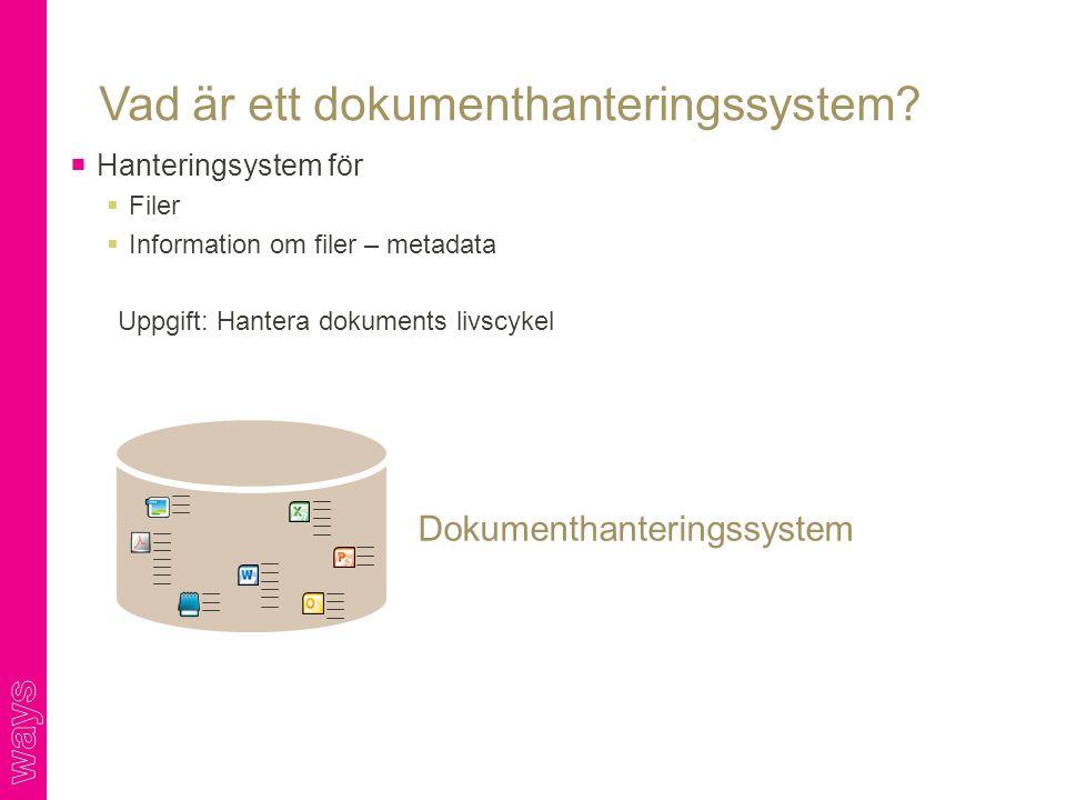 Vad är ett dokumenthanteringssystem?  Hanteringsystem för  Filer  Information om filer – metadata Uppgift: Hantera dokuments livscykel Dokumenthant