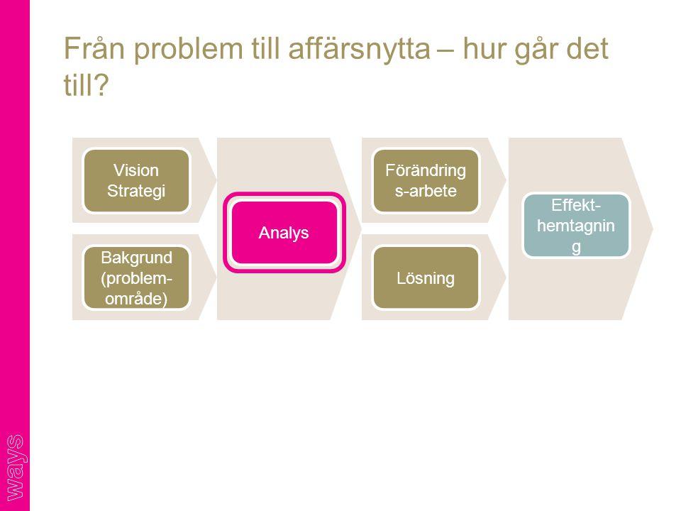 Från problem till affärsnytta – hur går det till? Vision Strategi Analys Effekt- hemtagnin g Bakgrund (problem- område) Förändring s-arbete Lösning