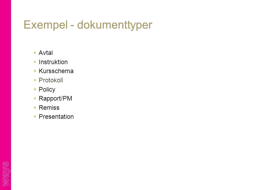  Avtal  Instruktion  Kursschema  Protokoll  Policy  Rapport/PM  Remiss  Presentation Exempel - dokumenttyper