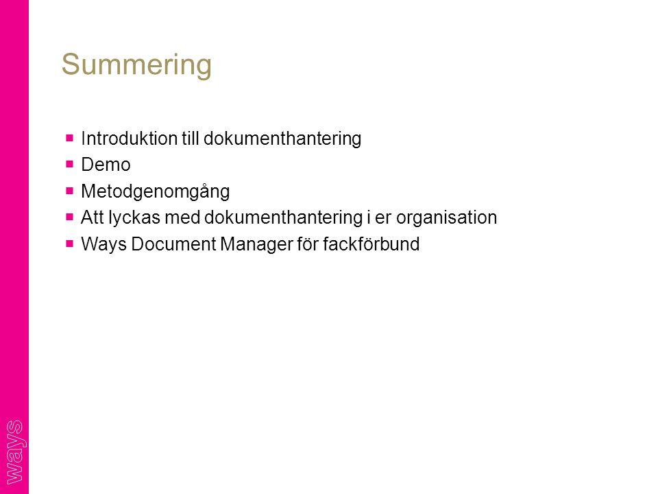  Introduktion till dokumenthantering  Demo  Metodgenomgång  Att lyckas med dokumenthantering i er organisation  Ways Document Manager för fackförbund Summering