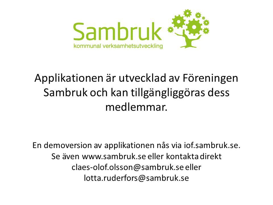 Applikationen är utvecklad av Föreningen Sambruk och kan tillgängliggöras dess medlemmar. En demoversion av applikationen nås via iof.sambruk.se. Se ä