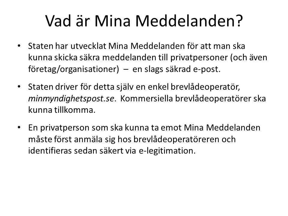 Vad är MM Sender.En enkel, fristående webbapplikation för säker sändning till Mina Meddelanden.
