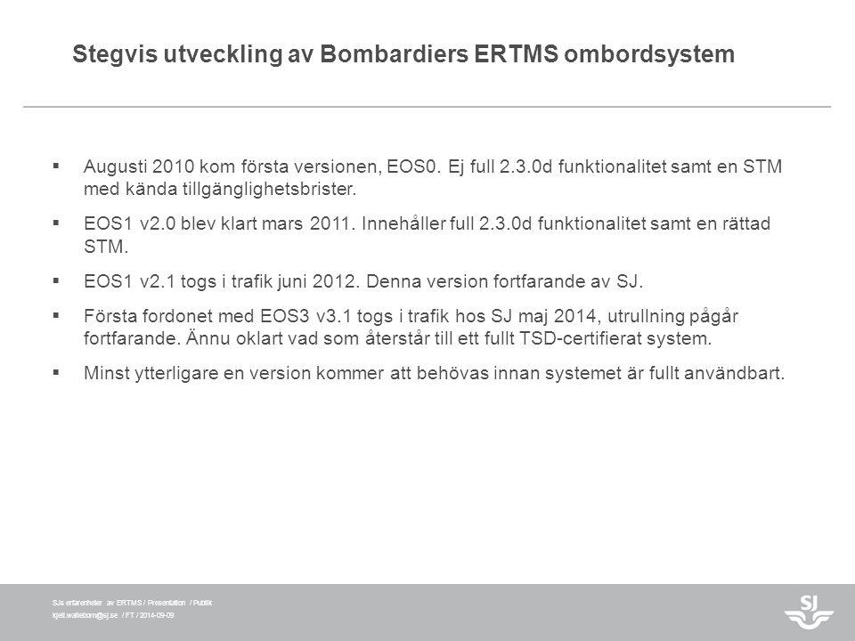 SJs erfarenheter av ERTMS / Presentation / Publik kjell.walleborn@sj.se / FT / 2014-09-09 Stegvis utveckling av Bombardiers ERTMS ombordsystem  Augus