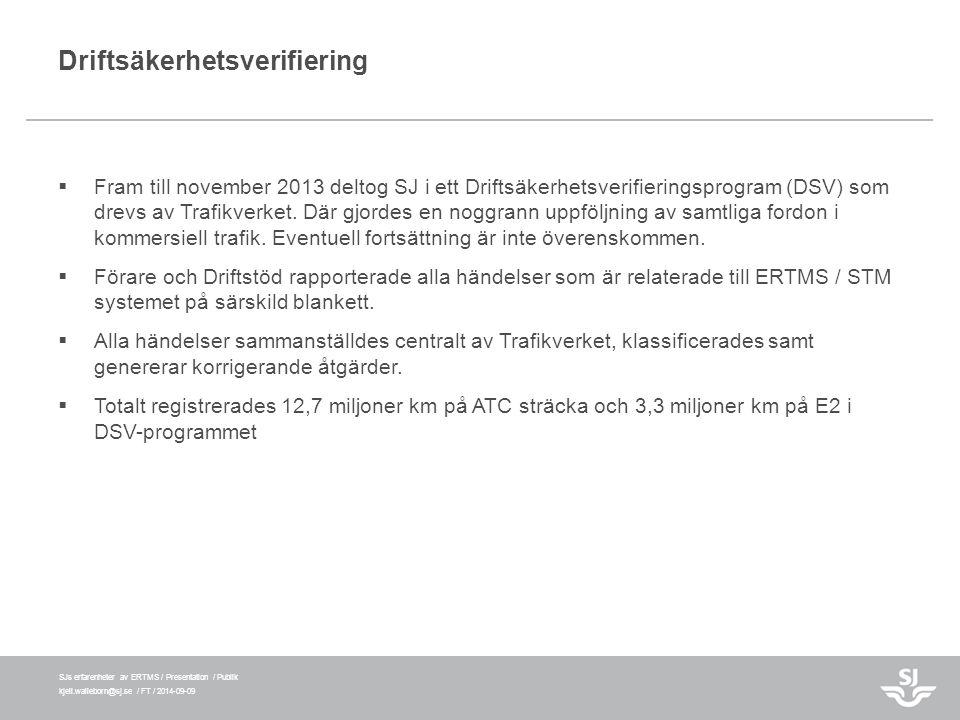 SJs erfarenheter av ERTMS / Presentation / Publik kjell.walleborn@sj.se / FT / 2014-09-09 Driftsäkerhetsverifiering  Fram till november 2013 deltog S