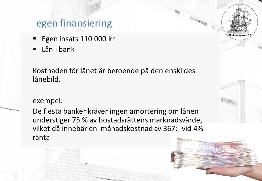 egen finansiering  Egen insats 110 000 kr  Lån i bank Kostnaden för lånet är beroende på den enskildes lånebild. exempel: De flesta banker kräver in