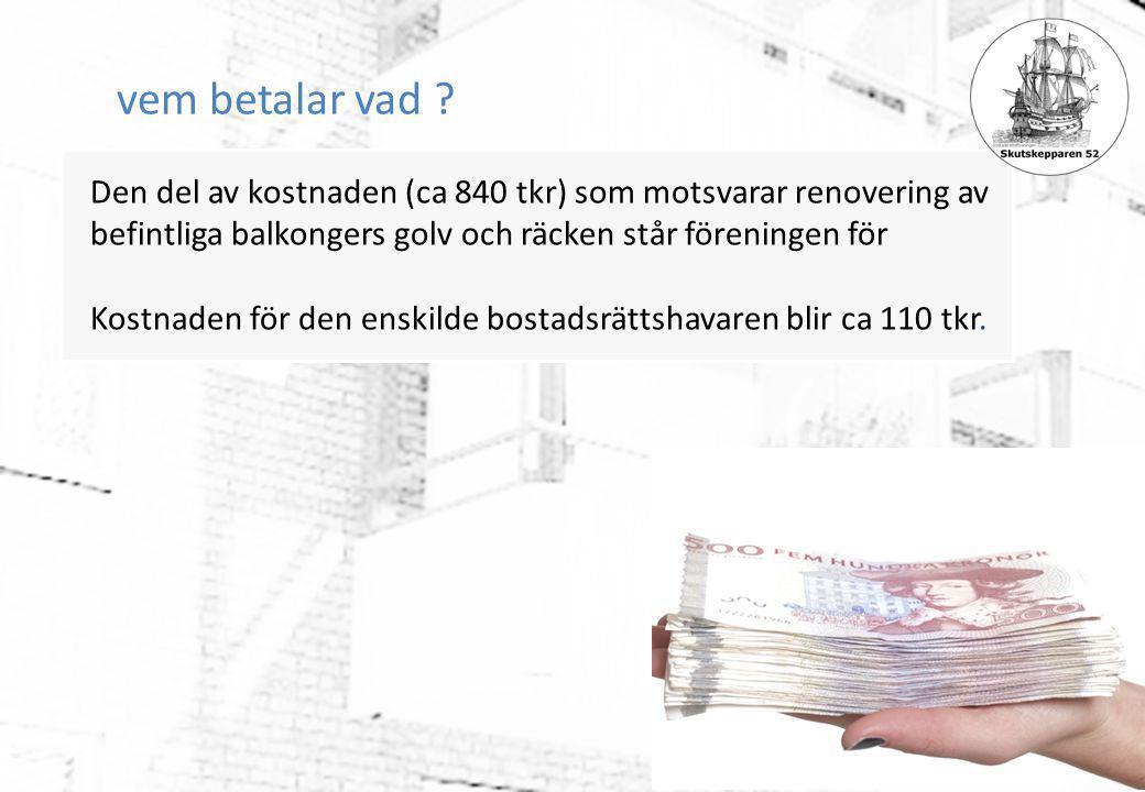 vem betalar vad ? Den del av kostnaden (ca 840 tkr) som motsvarar renovering av befintliga balkongers golv och räcken står föreningen för Kostnaden fö