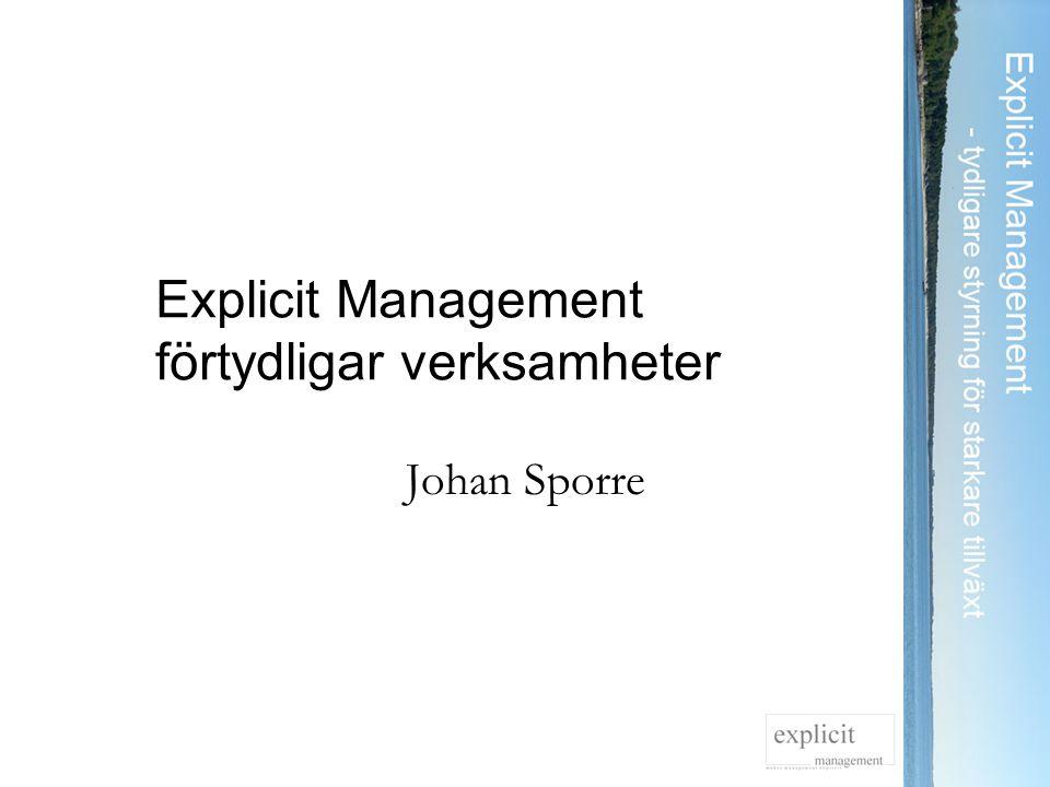 Explicit Management förtydligar verksamheter Johan Sporre