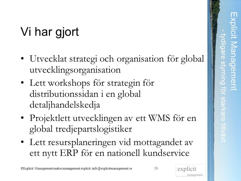 Vi har gjort Utvecklat strategi och organisation för global utvecklingsorganisation Lett workshops för strategin för distributionssidan i en global de