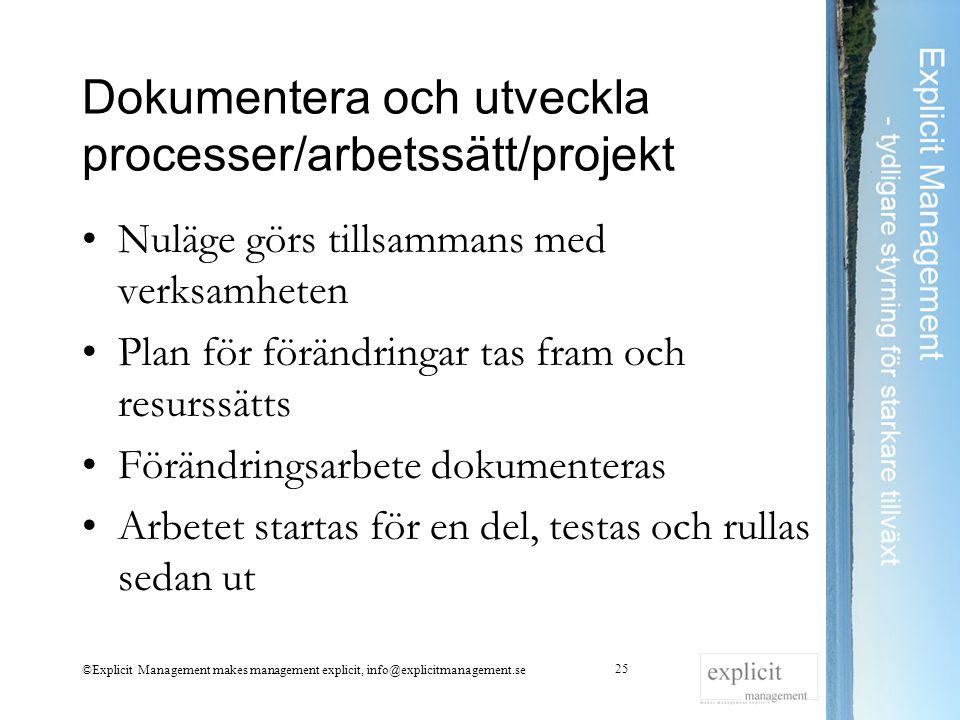 Dokumentera och utveckla processer/arbetssätt/projekt Nuläge görs tillsammans med verksamheten Plan för förändringar tas fram och resurssätts Förändri