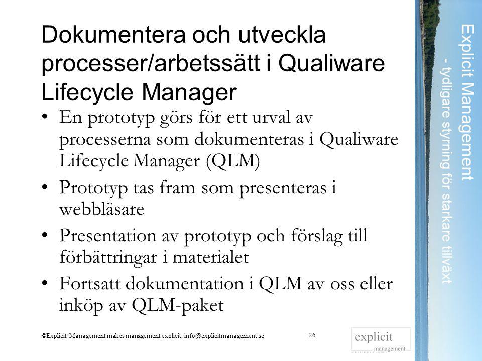 Dokumentera och utveckla processer/arbetssätt i Qualiware Lifecycle Manager En prototyp görs för ett urval av processerna som dokumenteras i Qualiware Lifecycle Manager (QLM) Prototyp tas fram som presenteras i webbläsare Presentation av prototyp och förslag till förbättringar i materialet Fortsatt dokumentation i QLM av oss eller inköp av QLM-paket ©Explicit Management makes management explicit, info@explicitmanagement.se 26
