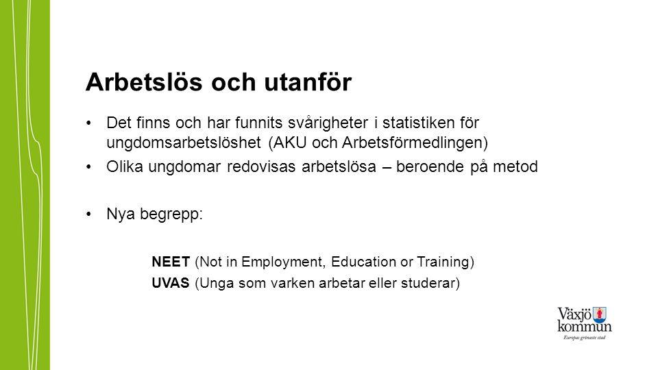 Det finns och har funnits svårigheter i statistiken för ungdomsarbetslöshet (AKU och Arbetsförmedlingen) Olika ungdomar redovisas arbetslösa – beroend