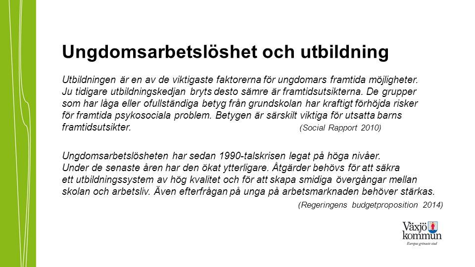 Nationella slutsatser (www.temaunga.se) Antalet UVAS har ökat från 1990-talet 2008-2011 över 100 000 personer i åldern 16-25 år Motsvarar 8-10 procent av åldersgruppen varje år UVAS inte känslig för konjunktursvängningar (stabil)